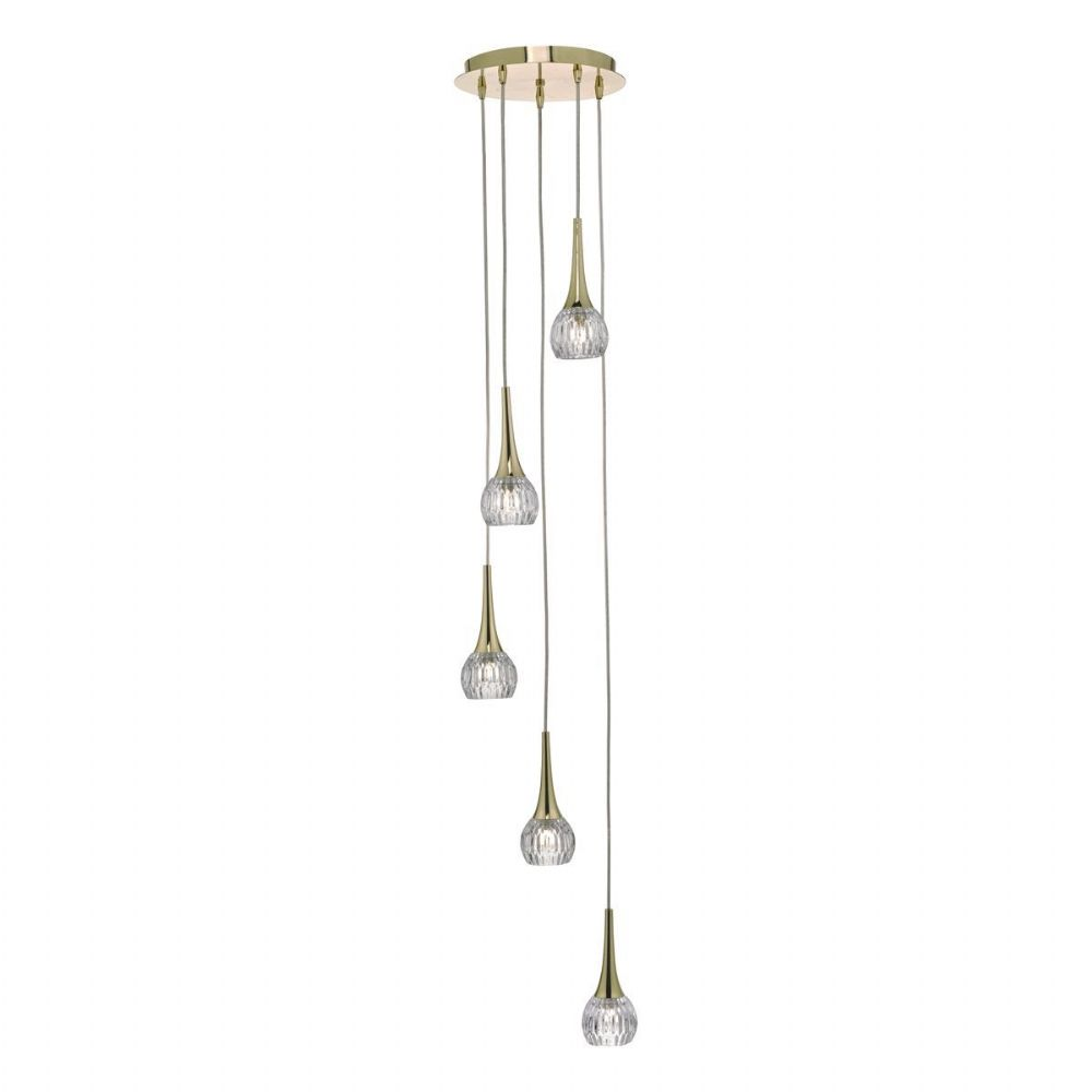 Lyall 5lt Cluster Pendant Gold & Glass (double insulated) BXLYA0535-17